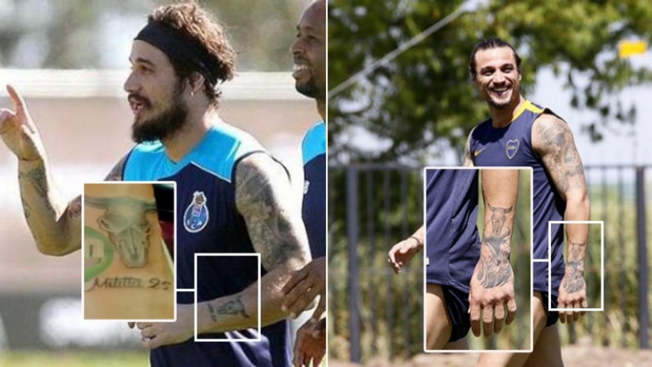 Daniel Osvaldo se tapó el tatuaje con el nombre de Militta Bora. (Fotos: Web y Prensa Boca Juniors)