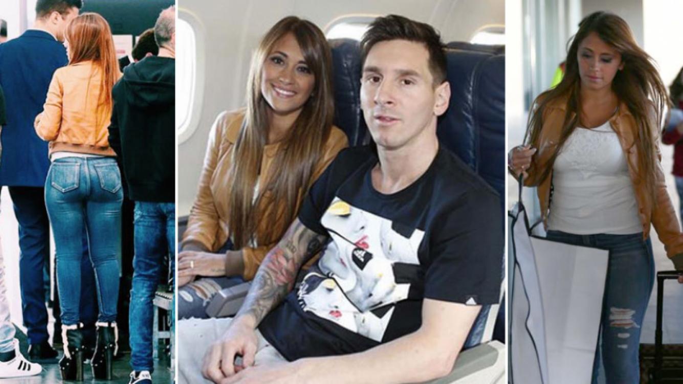 Las súper curvas de Antonella Roccuzzo en su llegada a Zurich junto a Messi: diosa total a 4 meses de dar a luz. (Foto: Twitter)