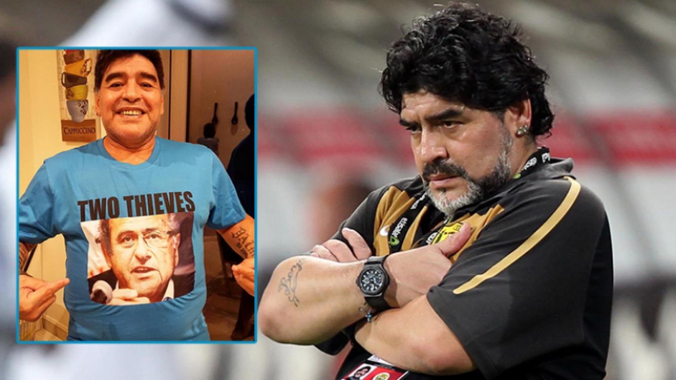 La remera de Diego Maradona contra Blatter y Platini. Fotos: Instagram y Web.