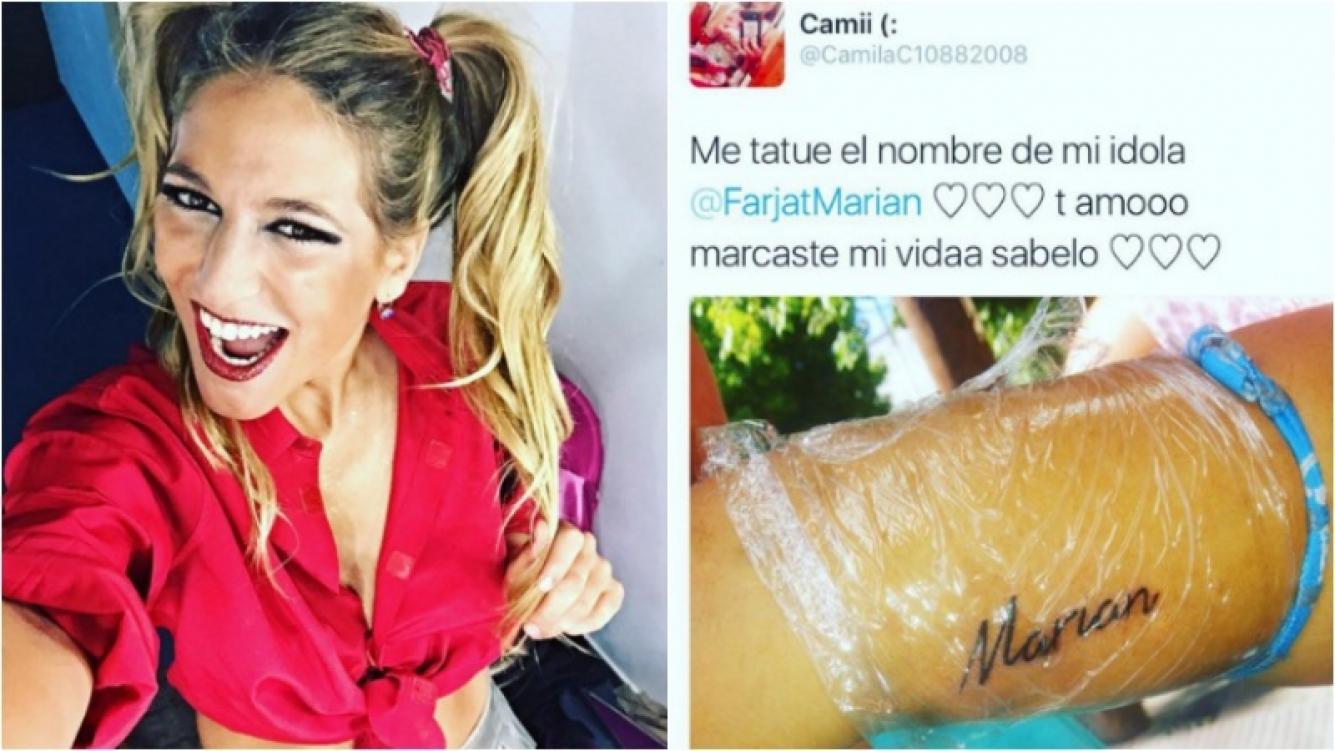 La sorpresa de Marian Farjat: ¡una fan se tatuó su nombre! Foto: Instagram