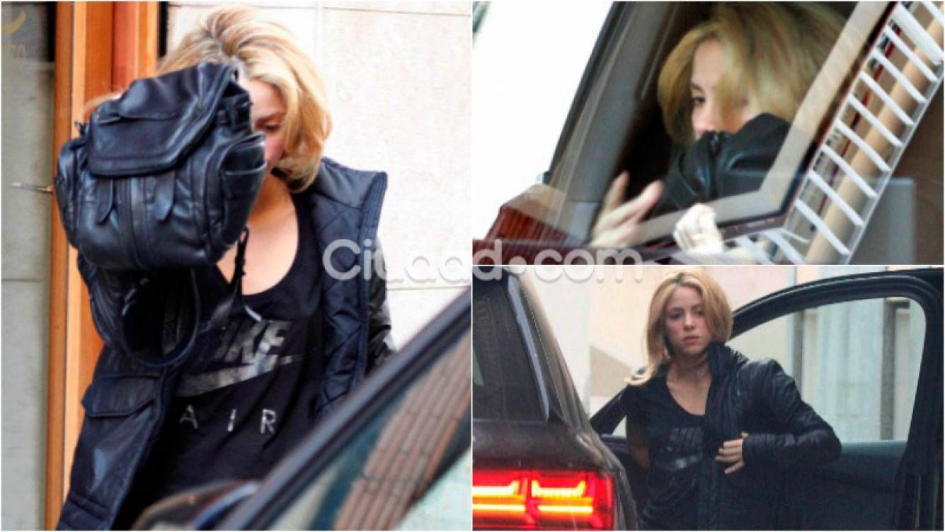 La reacción de Shakira al ser descubierta a la salida de un centro de estética. Foto: Grosby Group