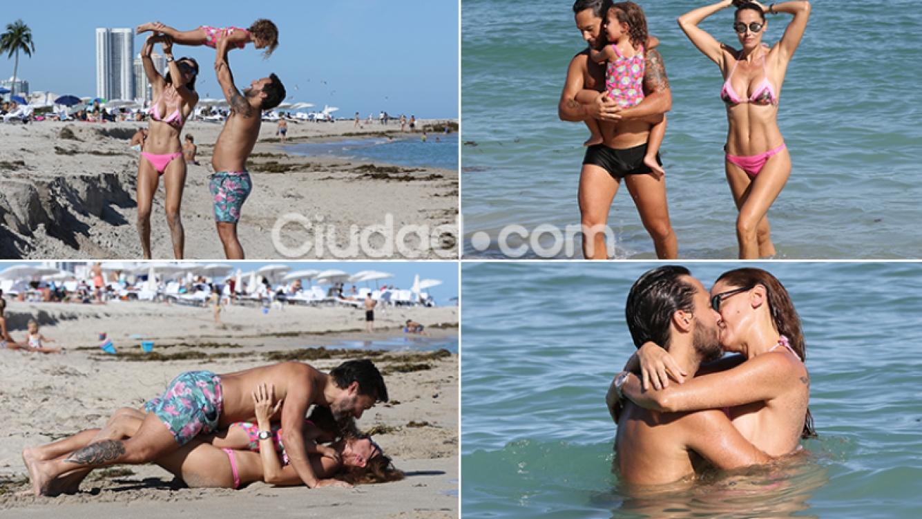 Diego Torres, Débora Bello y su hija Nina en Miami. Fotos: Grosby Group.