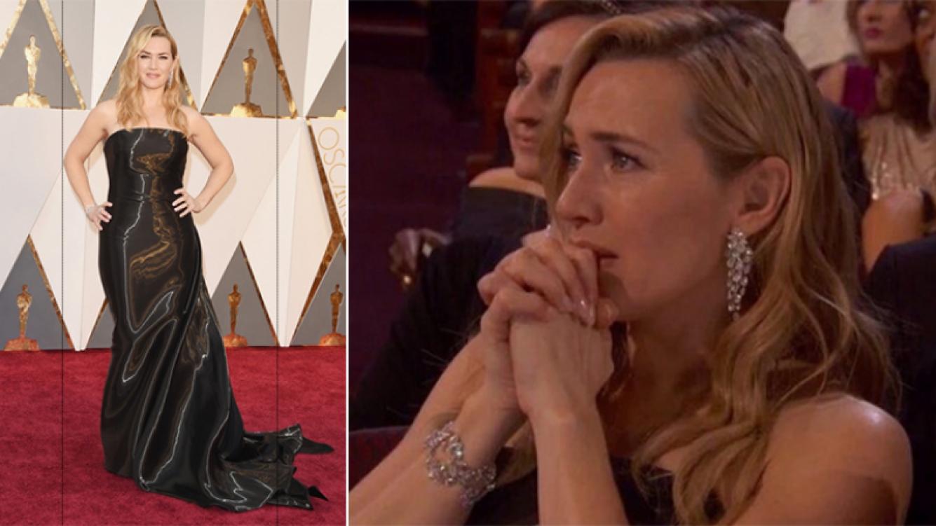 Kate Winslet y su criticado look en los Oscar 2016. Fotos: Web y Twitter.