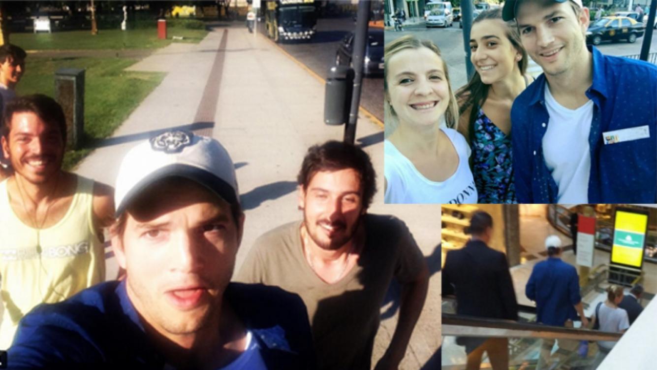 Ashton Kutcher posó para fotos con admiradores por Buenos Aires. Fotos: Twitter e Instagram