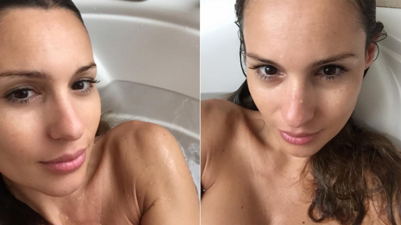 Pampita y las selfies ratoneras desde la bañera (Foto: Twitter)