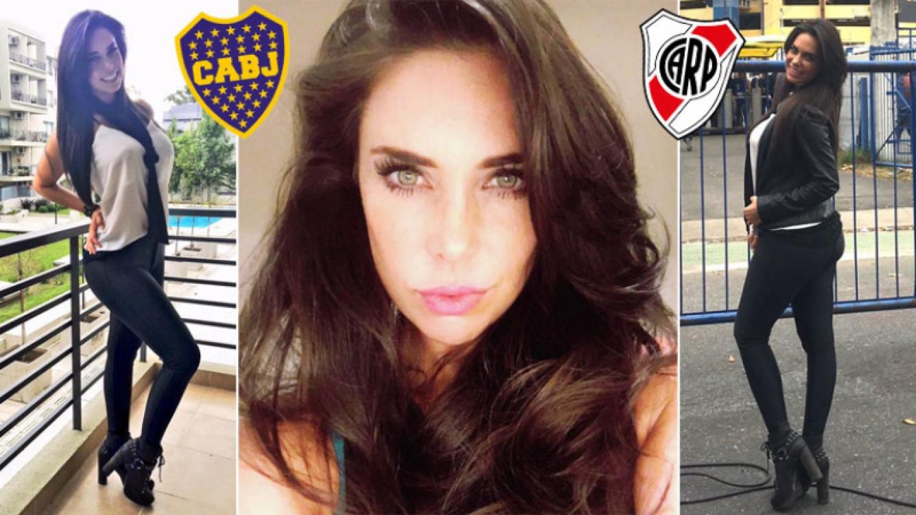 El look 'elegante sport' de Sabrina Ravelli para ir al Superclásico en la Bombonera. (Foto: Twitter y gentileza Sabrina Ravelli)