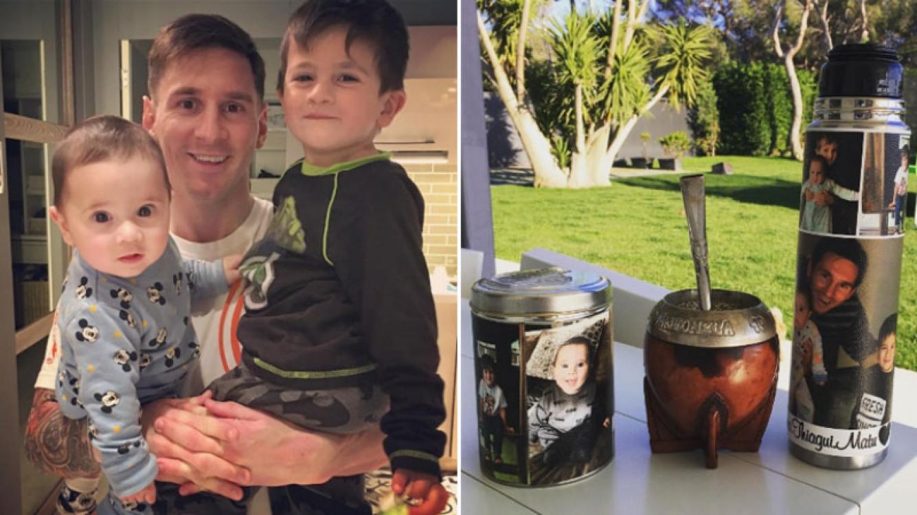 Lionel Messi y el tierno detalle de su equipo de mate: personalizado con fotos de sus hijos. (Foto: Instagram)