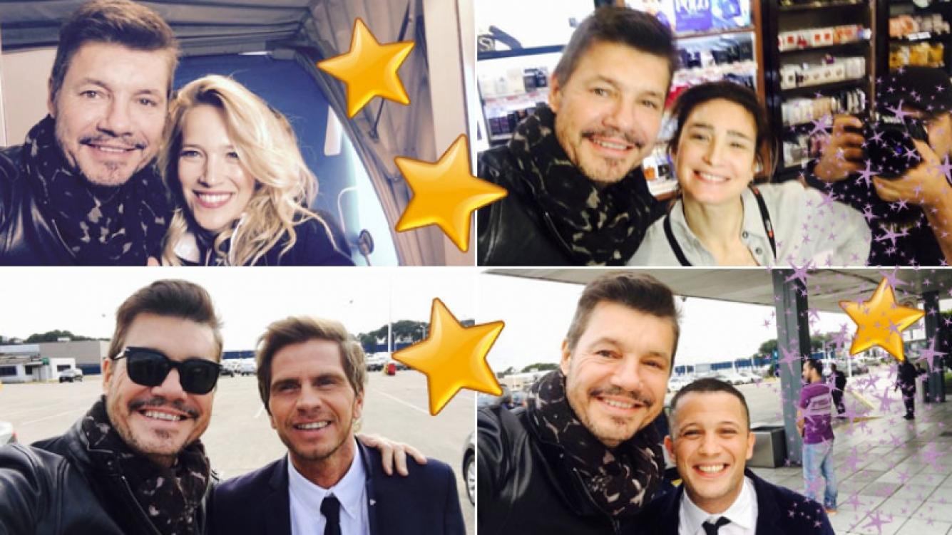 Marcelo Tinelli junto a Luisana y Darío Lopilato, el Pollo Vignolo y Valeria Bertuccelli en la apertura de ShowMatch. Foto: Twitter
