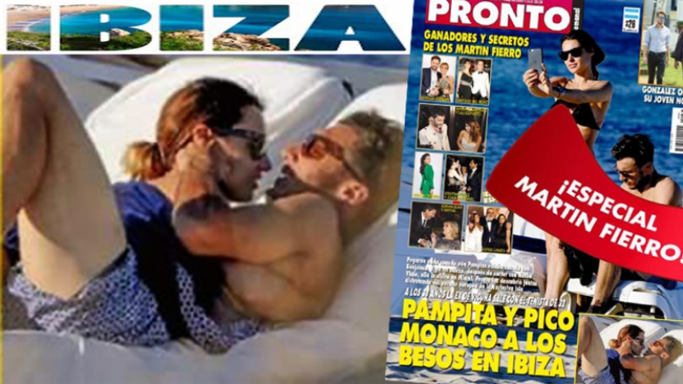 La tapa de la revista Pronto muestra a Pampita y Pico Mónaco, a los besos en Ibiza.