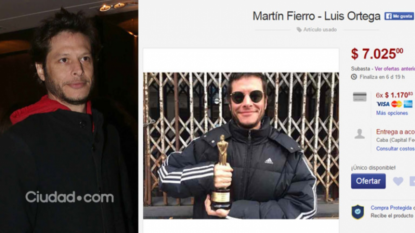 Luis Ortega subasta su premio Martín Fierro en Internet. (Foto: Ciudad.com y Web)