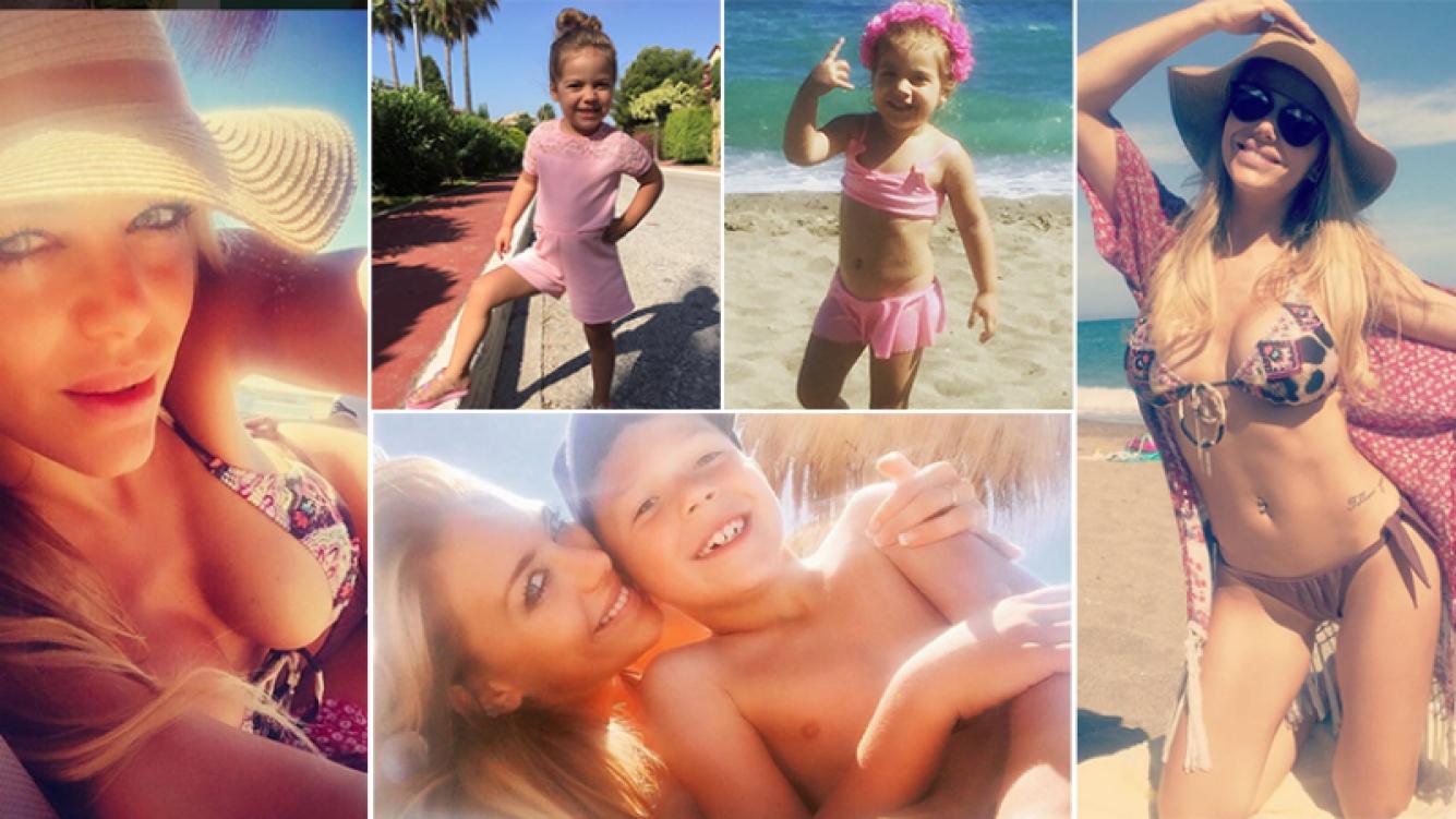 Evangelina Anderson, en Marbella con sus hijos. Fotos: Instagram.