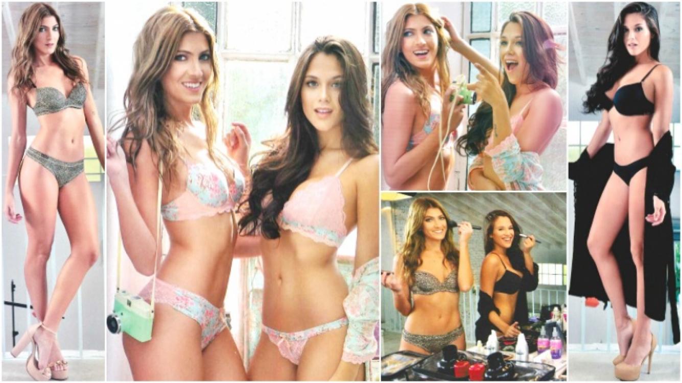 La producción de fotos sexies de Barbie Vélez y Candela Ruggeri (Fotos: revista Gente)