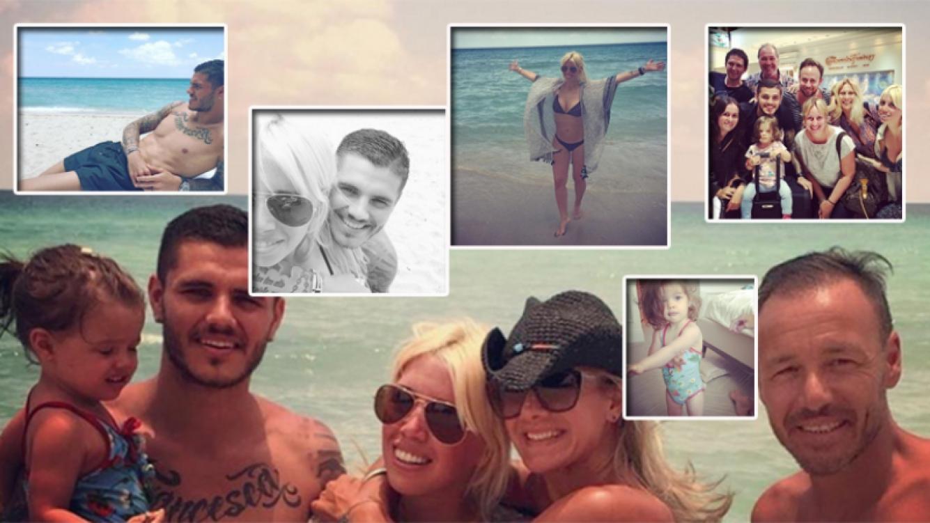 Wanda Nara y Mauro Icardi viajaron a Miami con su hija y amigos. Fotos: Instagram.