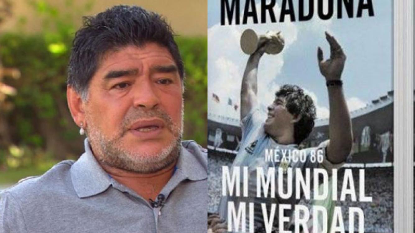 Diego Maradona y sus llamativas dedicatorias en su libro (Fotos: Web).