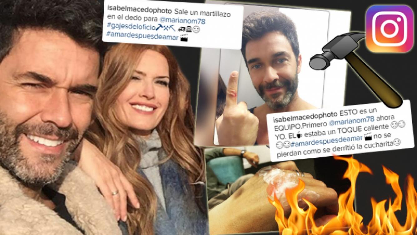 Isabel Macedo y Mariano Martínez tuvieron una jornada de grabación accidentada (Foto: Instagram)