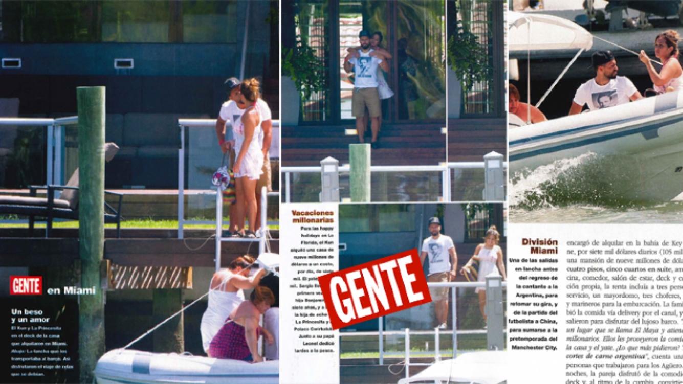 Agüero y La Princesita Karina, las fotos de sus vacaciones súper enamorados en Miami (Foto: revista Gente)