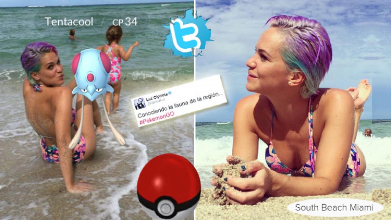 Luz Cipriota, la primera famosa argentina en cruzarse con un Pokémon. Fotos: Twitter e Instagram