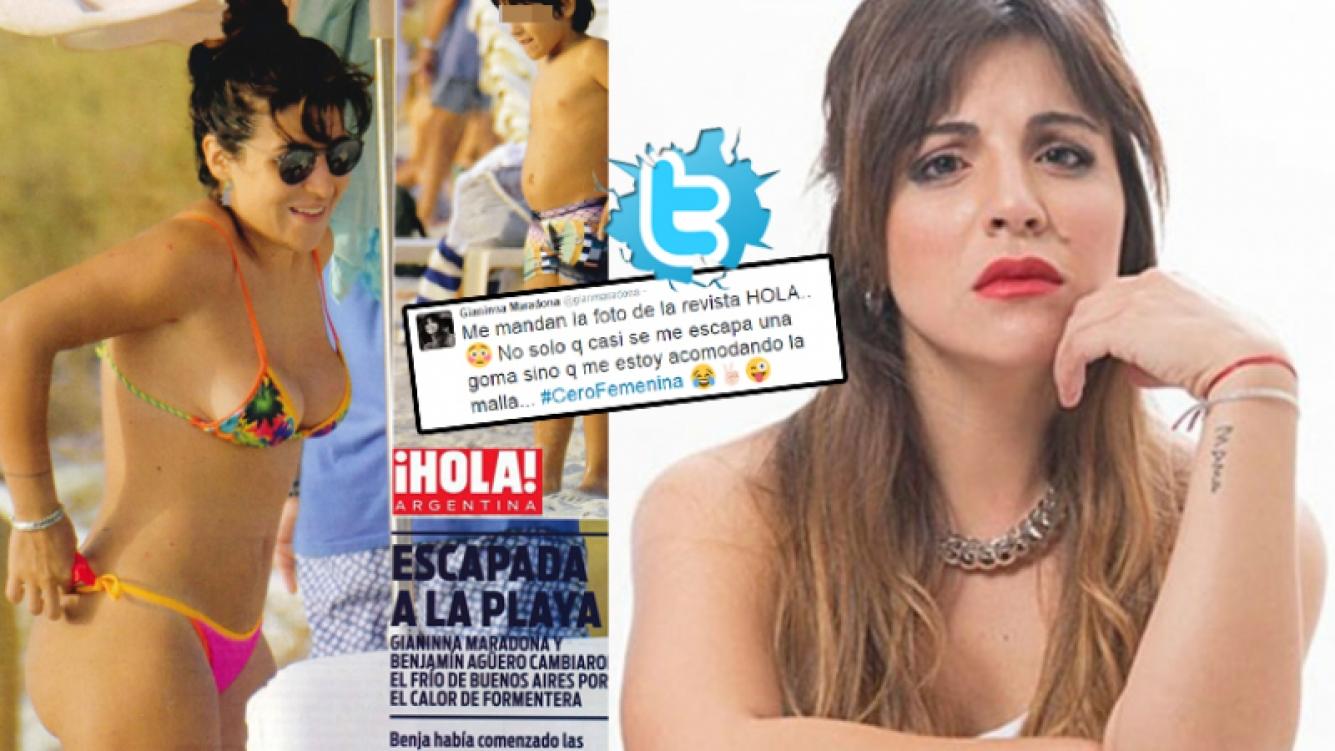 El divertido tweet de Gianinna Maradona al ver una foto suya  en bikini en una revista (Foto: revista ¡Hola! y Web)