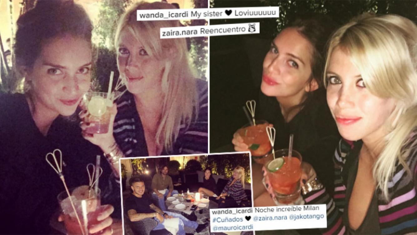 ¡Reencuentro de hermanas! Wanda y Zaira, cena y tragos en Milán. (Foto: Instagram)
