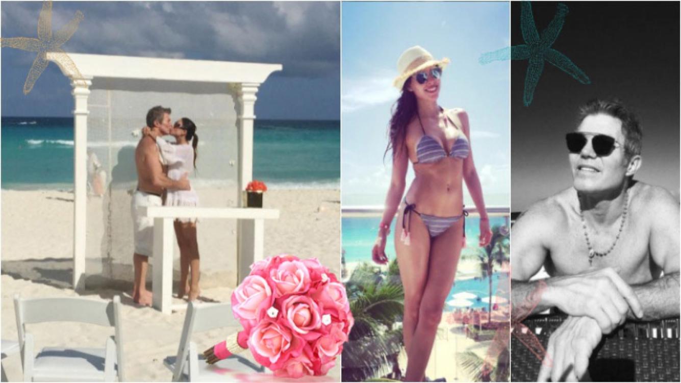 """La """"boda"""" playera de Fernando Burlando y Barbie Franco en Cancún. Foto: Instagram"""
