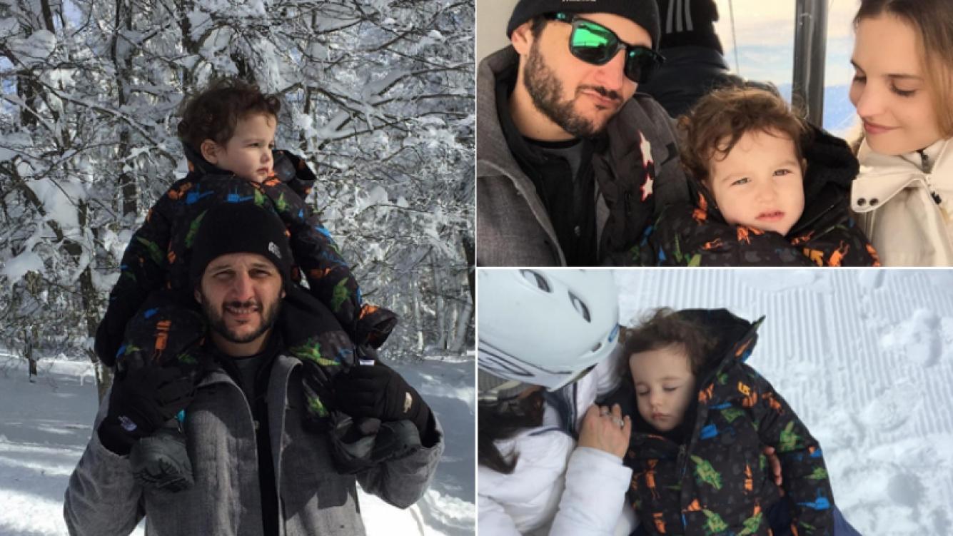 Sabrina Garciarena y Germán Paoloski con su hijo en cerro Chapelco (Foto: Instagram)