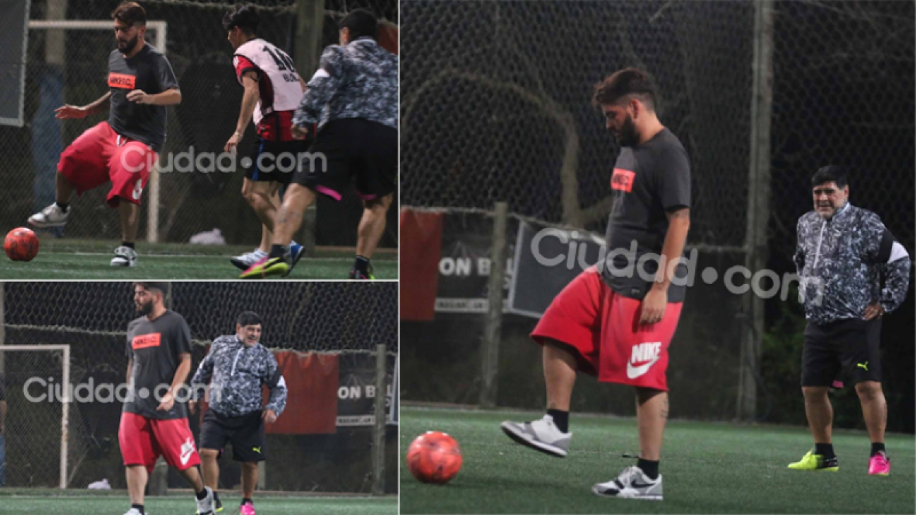 Diego Junior jugó al fútbol con papá Maradona (Fotos: Movilpress)