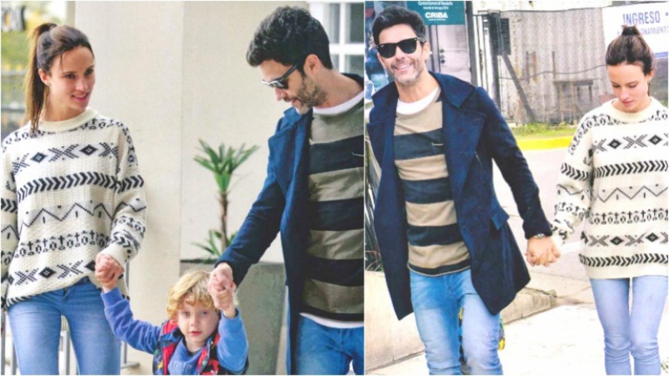 La salida familiar de Mariano Martínez con su flamante novia y su hijo menor. (Fotos: revista Gente)