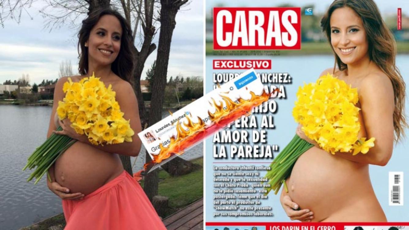 Lourdes Sánchez se enojó por la portada de Caras y compartió otra toma de la foto original desde Twitter. (Foto: Twitter)