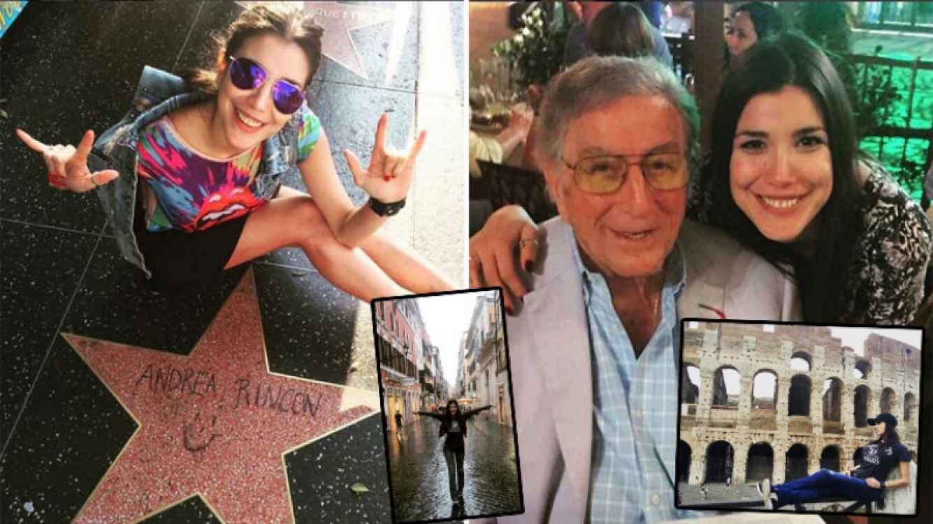 Andrea Rincón dejó su huella en el Paseo de la Fama de Hollywood y luego se encontró con Tony Bennett en Roma. (Foto: Instagram)