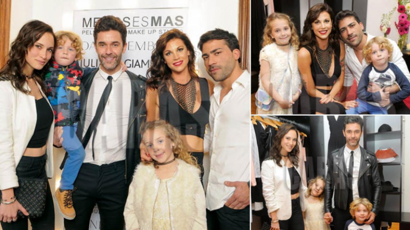 Mariano Martínez y Juliana Giambroni con sus hijos… ¡y sus actuales parejas! (Foto: revista Caras)