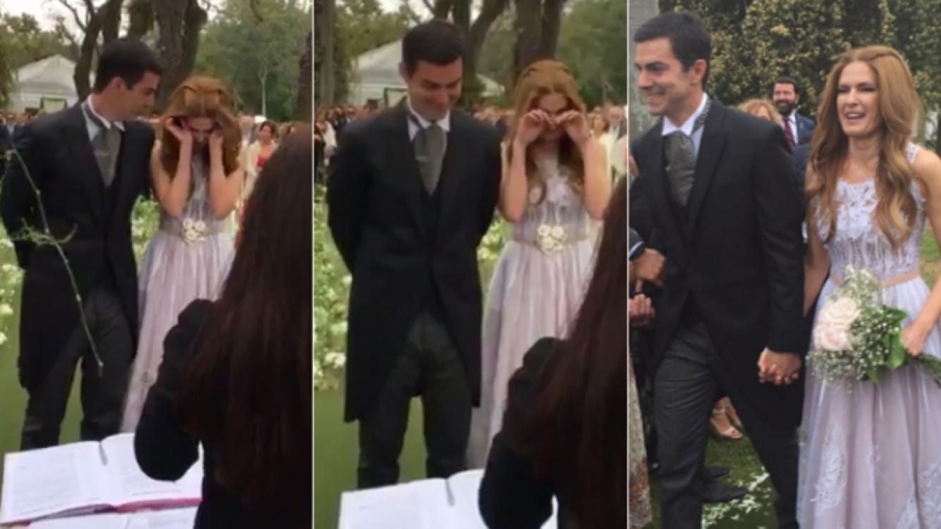"""El llanto de Isabel Macedo antes de dar el """"sí, quiero"""" con Urtubey (Foto: Twitter)"""