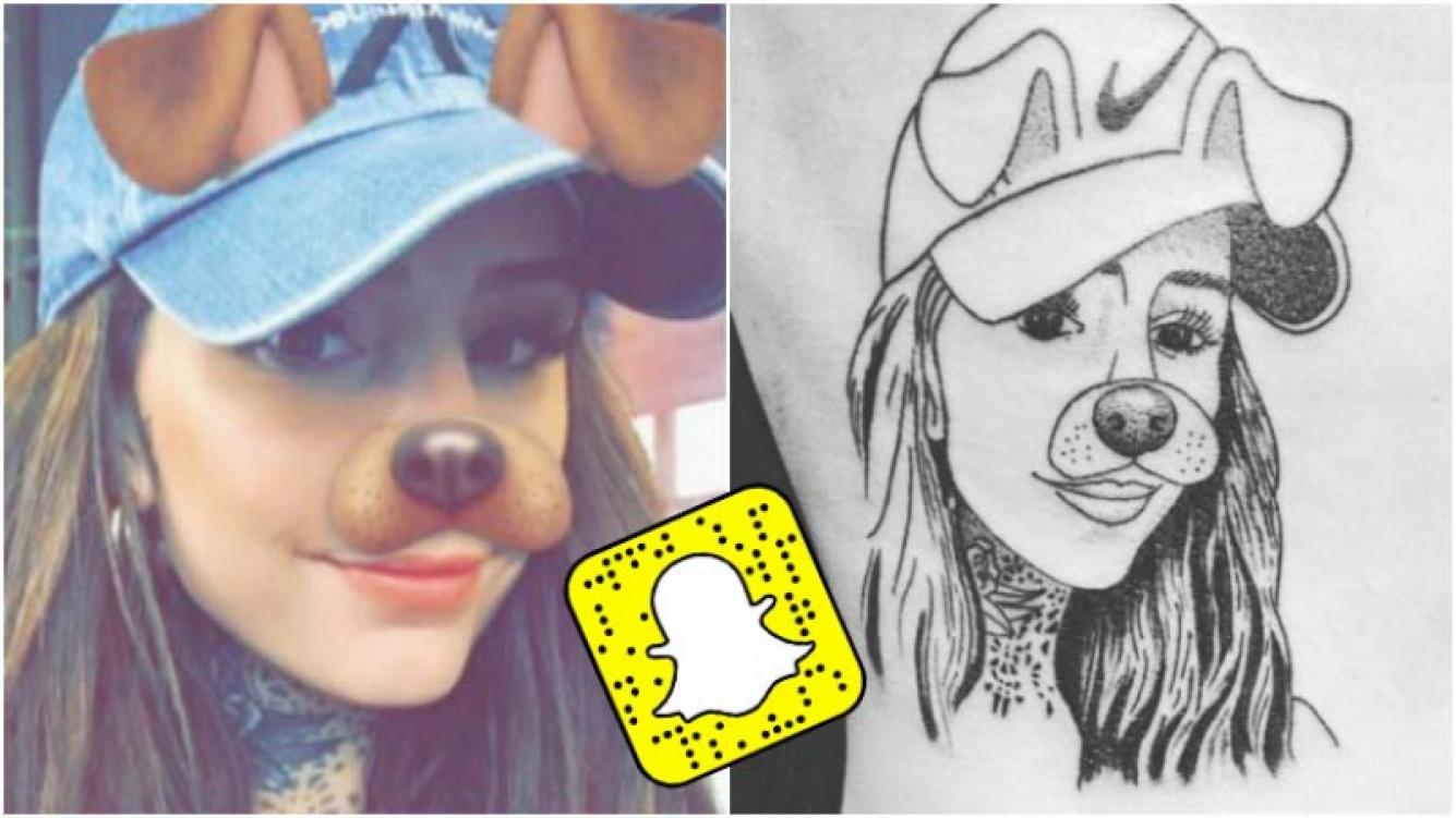 Un fan de Candelaria Tinelli se tatuó su cara con el filtro de Snapchat (Fotos: Web e Instagram)
