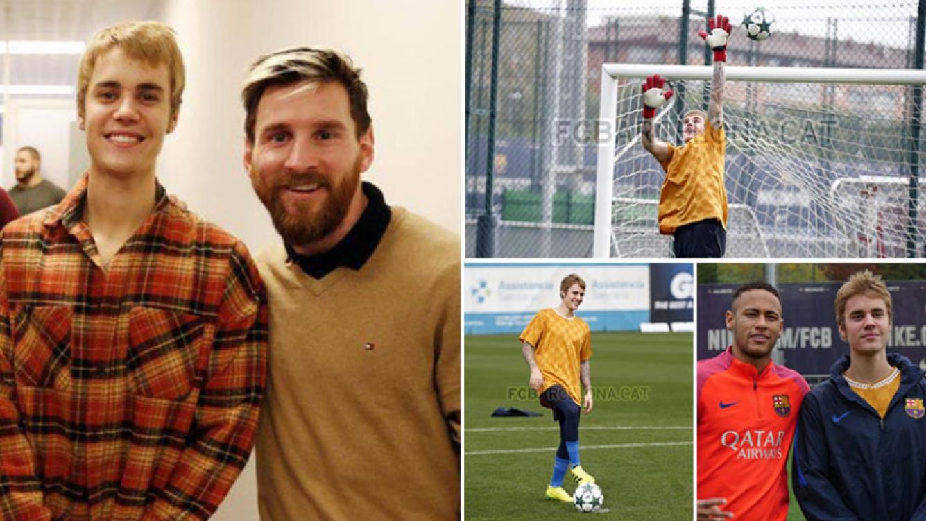 Justin Bieber sorprendió con su fútbol en el entrenamiento de Barcelona. (Foto: Web)