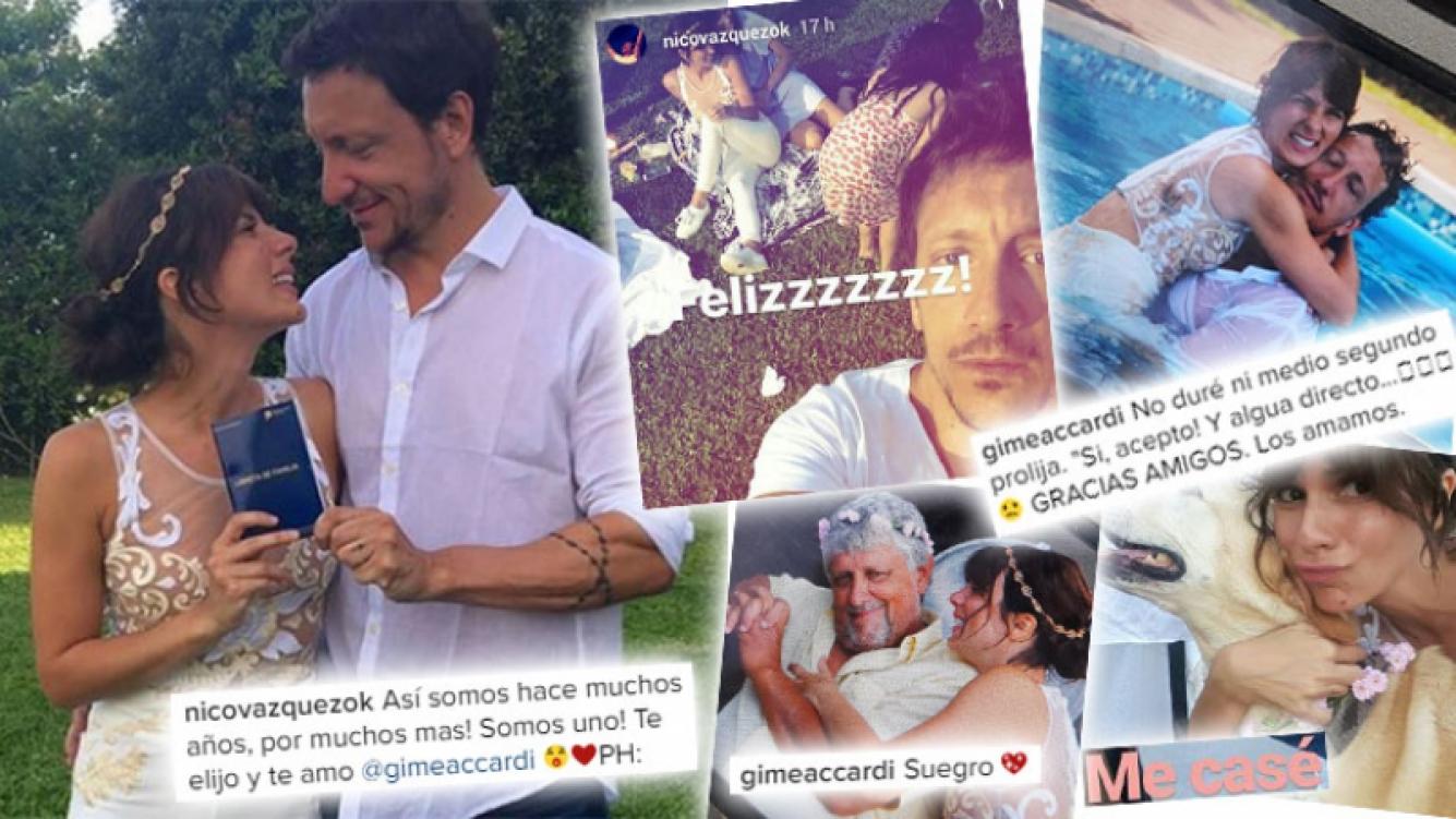 Nico Vázquez y Gimena Accardi, espiá por dentro su divertida fiesta de boda. (Foto: Instagram)
