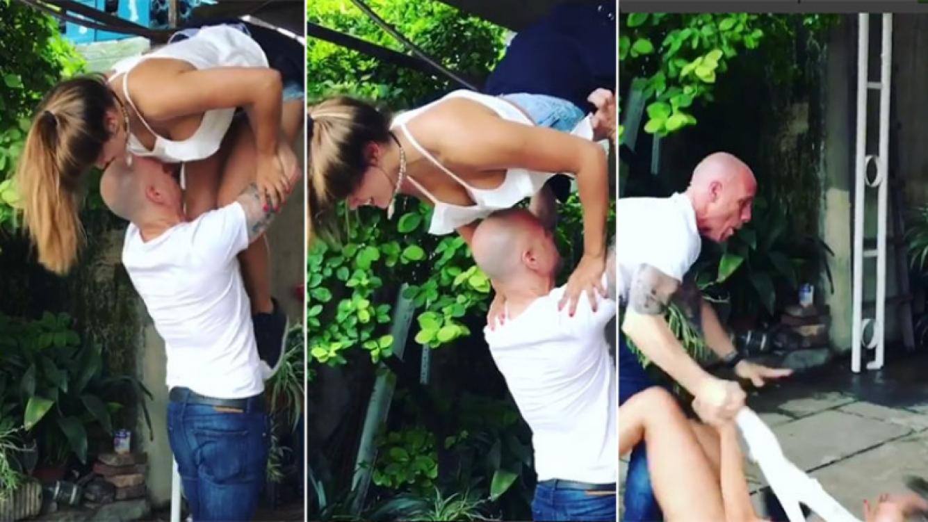 El video viral de Barbie Vélez haciendo un truco con su papá. (Fotos: Instagram)