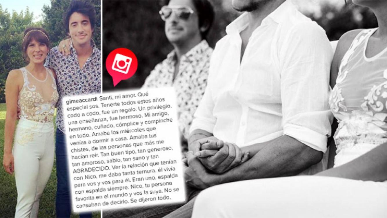 La conmovedora despedida de Gimena Accardi a Santiago Vázquez. (Foto: Web)