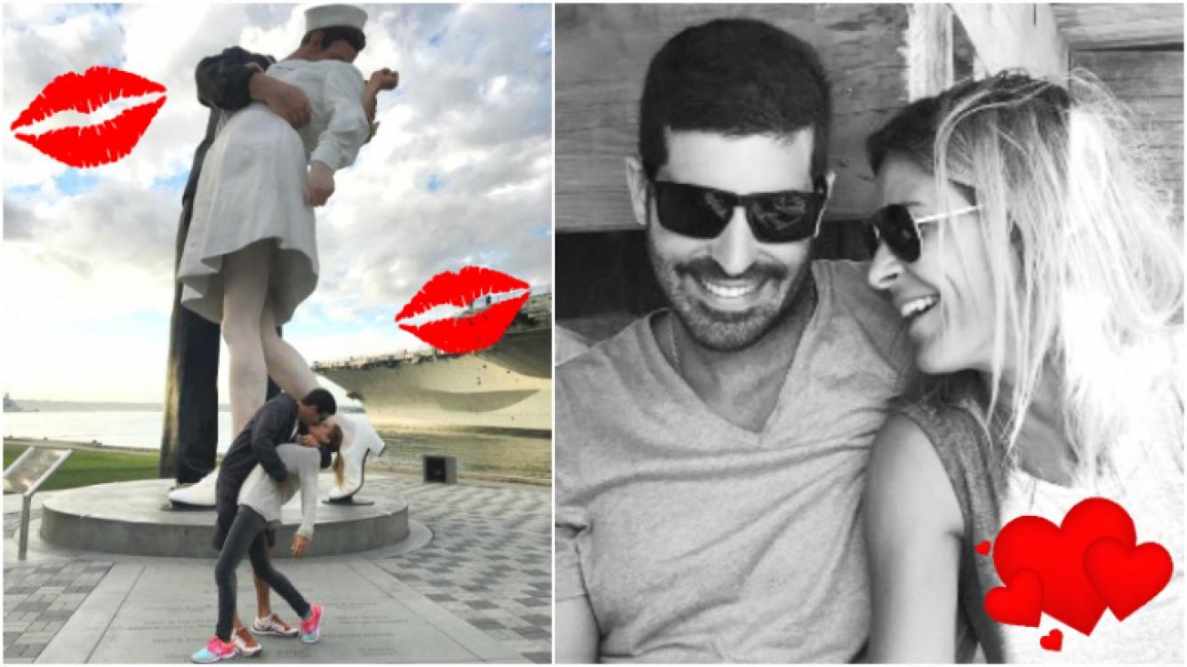 Eugenia Tobal y su novio imitaron el beso más famoso en San Diego (Fotos: Instagram)