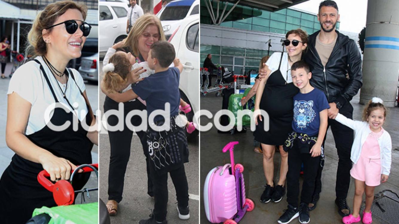 Evangelina Anderson y Martín Demichelis llegaron a la Argentina (Foto: Movilpress)