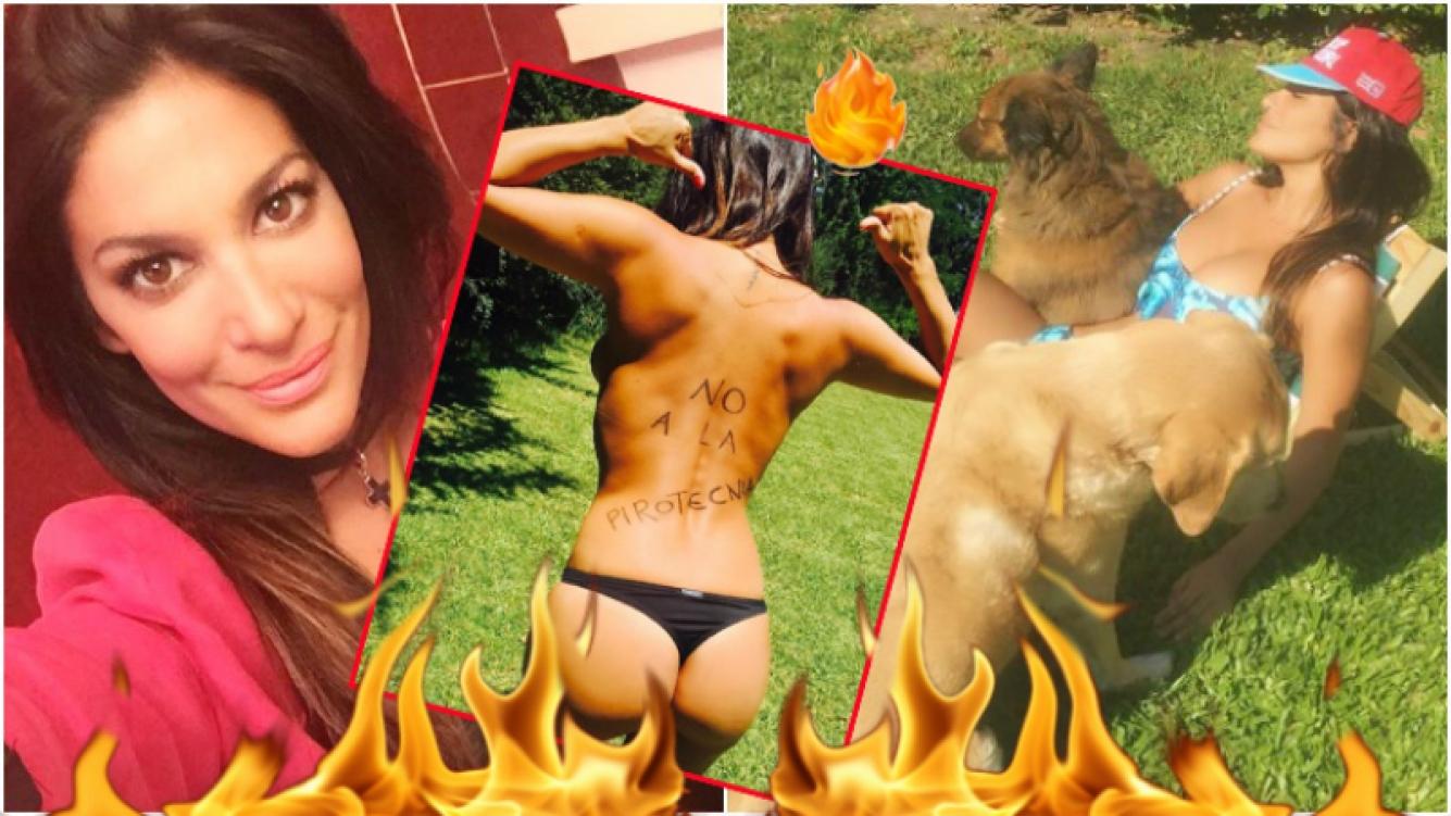Silvina Escudero publicó una foto en topless contra la pirotecnia y después la borró (Fotos: Instagram)