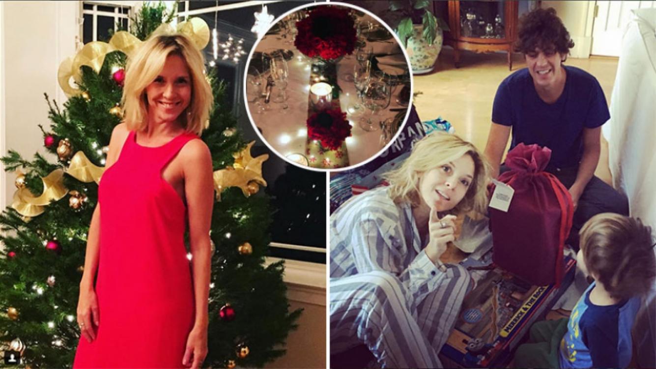 Carla Peterson abrió los regalos de Navidad en pijama, a cara lavada, junto a Martín Lousteau y su hijo Gaspar. (Foto: Instagram)