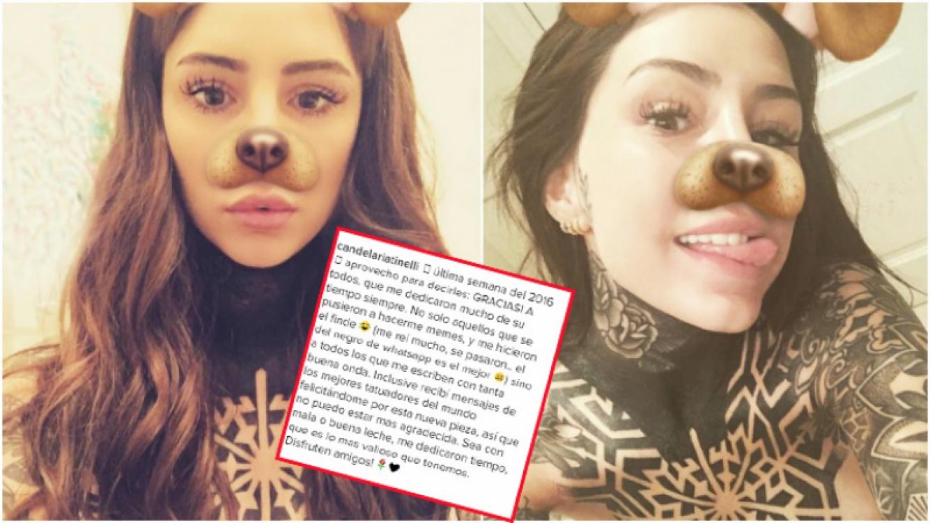 El detalle que no se había visto del extremo tatuaje de Candelaria Tinelli y su descargo en las redes (Fotos: Instagram)