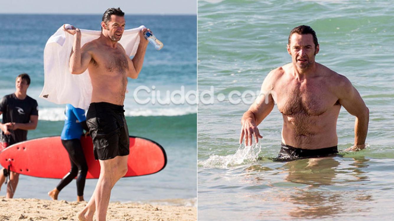 Hugh Jackman mostró su lomazo en las playas de Sydney. Foto: Grosby Group.