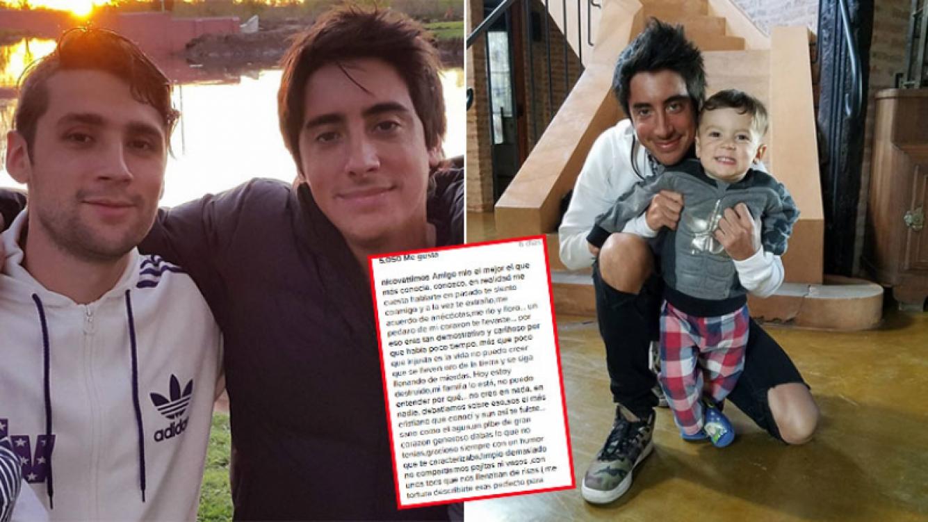 Izq: Nico Váttimos y Santi Vázquez. Der: Santi con Milo, hijo de Nico y sobrino de Cande Ruggeri. (Fotos: Instagram)