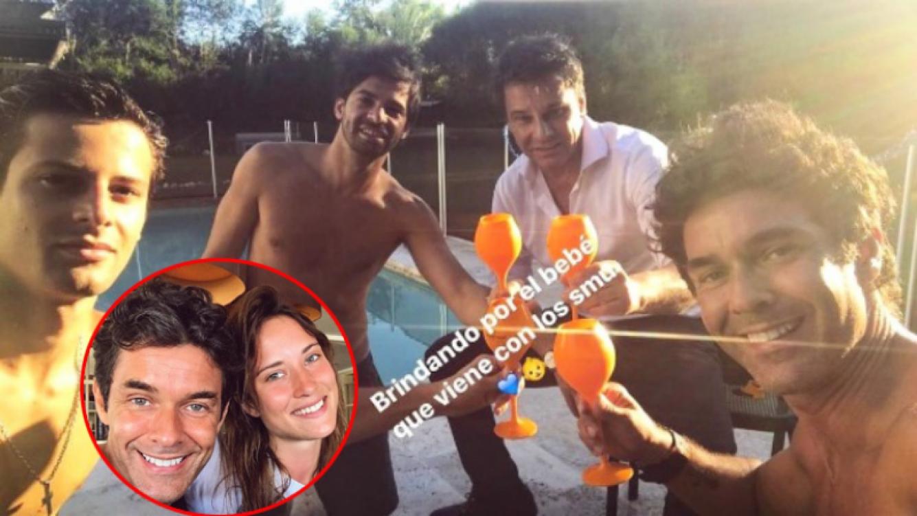 Mariano Martínez confirmó que será padre con un brindis entre amigos (Fotos: Instagram)