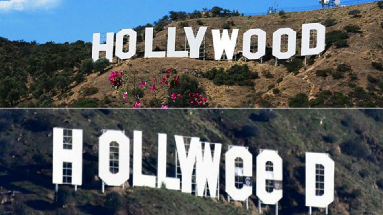 """Alteran el letrero """"Hollywood"""" para celebrar la legalización de la marihuana. (Foto: AFP)"""