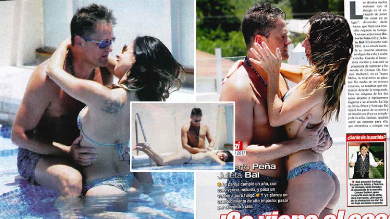 Roberto Peña y Julieta Bal quieren pasar por el registro civil, a un año de iniciado el amor prohibido. Foto: revista Paparazzi.