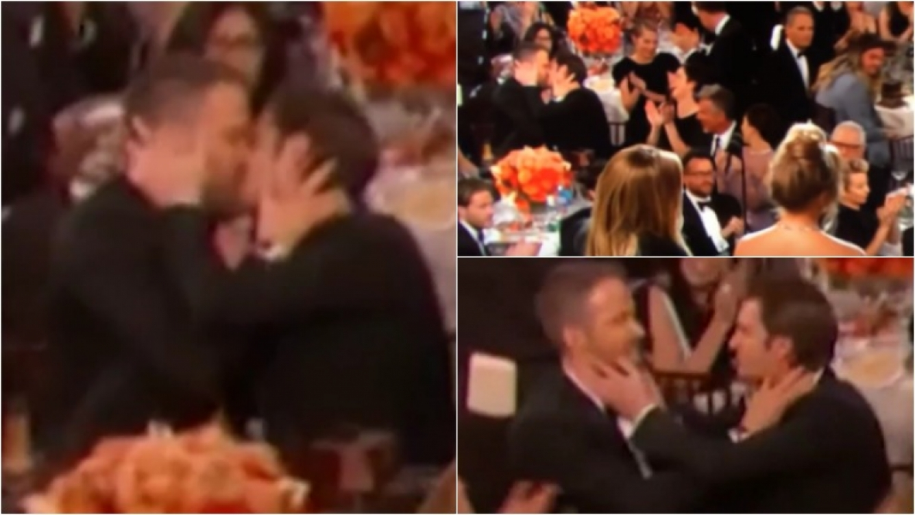 El beso de Ryan Reynolds y Andrew Garfield en los Golden Globe. Foto: Captura
