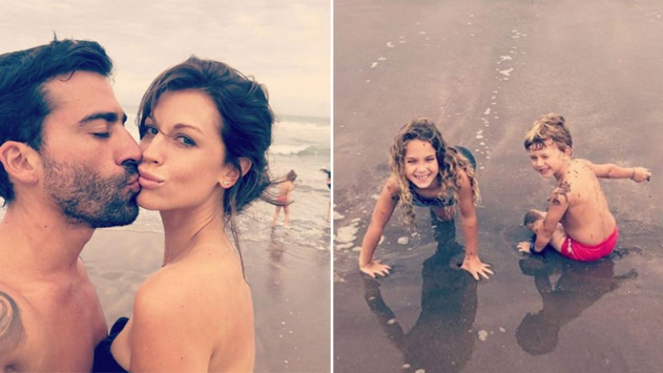 Las vacaciones de Juliana Giambroni junto a sus hijos y Matías Di Chiara en la playa (Foto: Instagram)