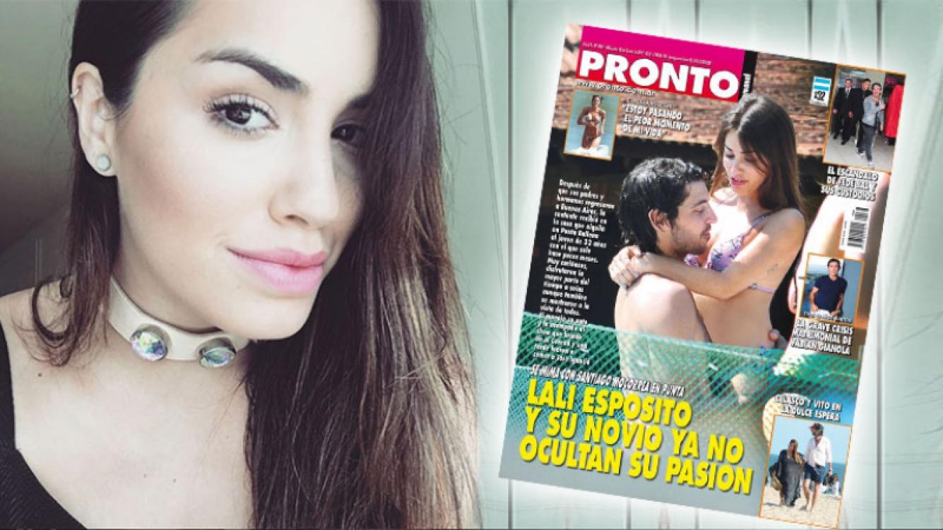 Lali Espósito, a puro mimo y arrumaco con Santiago Mocorrea en la pileta. (Foto: Instagram y revista Pronto)