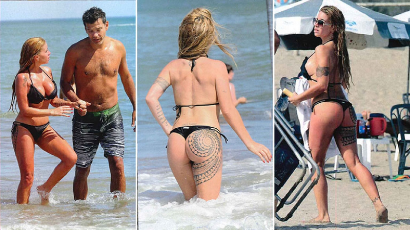 Florencia Peña paseó con Ramiro Ponce de León por Mardel y estrenó tatuaje en la cola. (Foto: revista Gente)